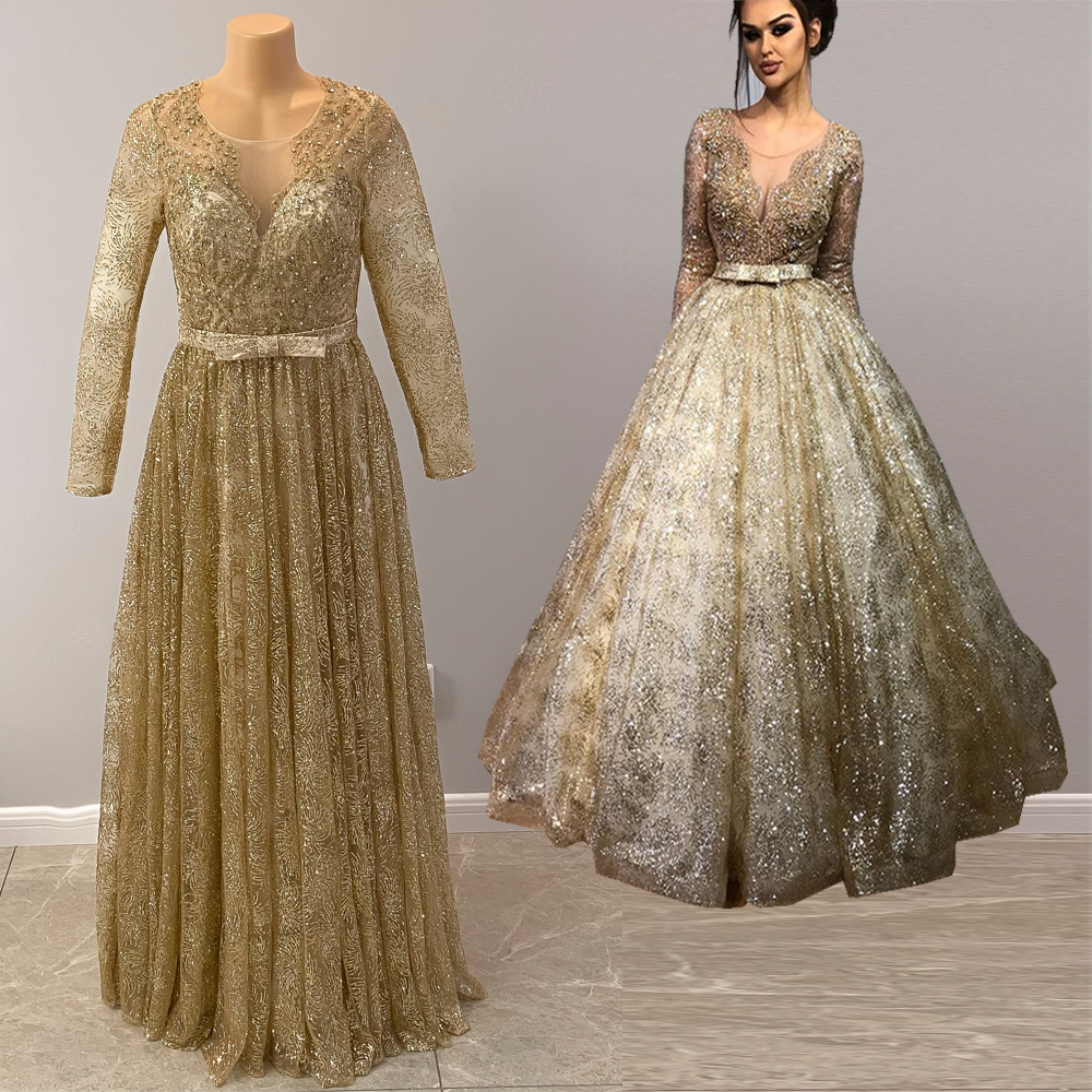 Long Sparkly Arabic Evening Dresses 2020 Sheer Long Sleeve Ball Gown Crystals Dubai Women Gold Floor Length Formal Evening Gowns