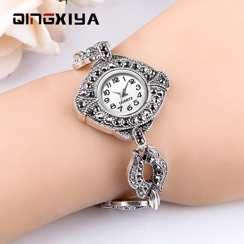 QINGXIYA Women Watches Brand Luxury Watch Women Diamond Fashion Antique Silver Bracelet Ladies Watch Female Quartz Clock Hours
