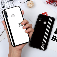 Roi reine Couples Simple rayure noir blanc étui pour Huawei Honor Play 9A V30 10i 8X 10 20 Lite Y7 Pro Y9 Prime 2019 2018 Coque(China)
