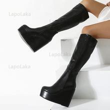 Coturno-cuñas de punta redonda para mujer, zapatos antideslizantes de tacón superalto hasta la rodilla, elegantes, plisadas, cómodas, negras, para otoño
