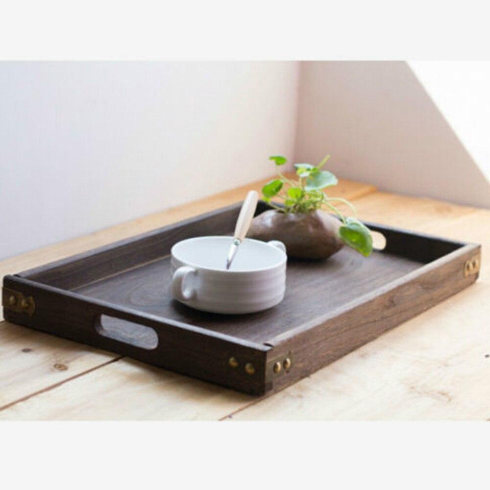 Прямоугольные ретро-подносы для хранения, деревянный поддон, гостиничный десертный ужин, посуда для чая, сервировочный поднос, домашний кухонный инструмент, 1 шт.-2