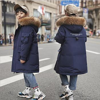 2019 new Korean version of the down jacket boy long boy thick cotton warm coat winter boy baby thick thick fur collar coat child