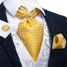 New Design Gold Check Dot Men Silk Cravat Ascot Tie Scrunch British Style Wedding Formal Necktie Handkerchief Ring Set DiBanGu
