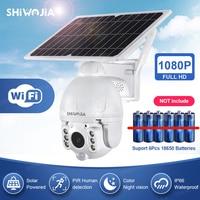 SHIWOJIA-cámara con Panel Solar, Monitor inalámbrico de seguridad para exteriores, PTZ, 4X, 1080P, impermeable, CCTV, vigilancia del hogar inteligente