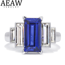 6x12mm Emerald Cut AAAA Lab Created Sapphire Stone set with Baguette DF Color Moissanite Halo Ring Real 18k White Gold Gift transgems 14k white gold 1 4ctw 0 7ct 5mm f color princess cut moissanite engagement ring with 2 5mm princess cut side stone
