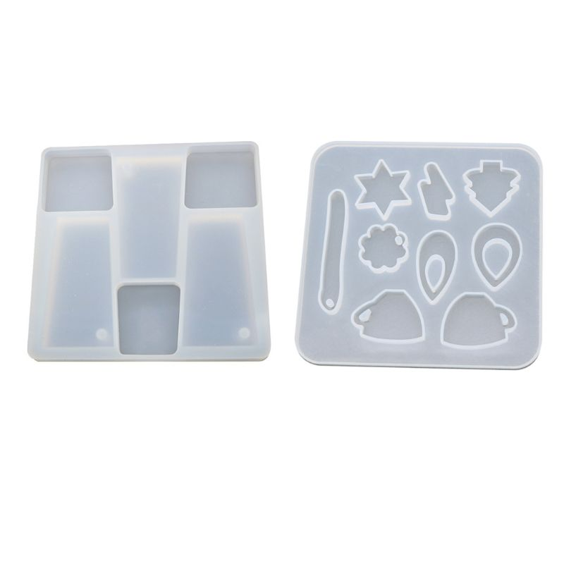 DIY Silicone Pendant Molds Resin Casing Craft Making Tool Crystal Epoxy Mold With Holes Earrings Hanging Ornaments Pendant Mould