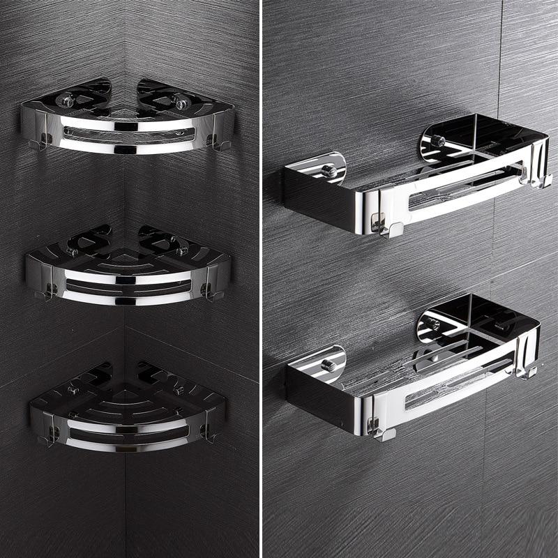 Punch-freies edelstahl stativ bad ecke rack bad lagerung rack bad regal
