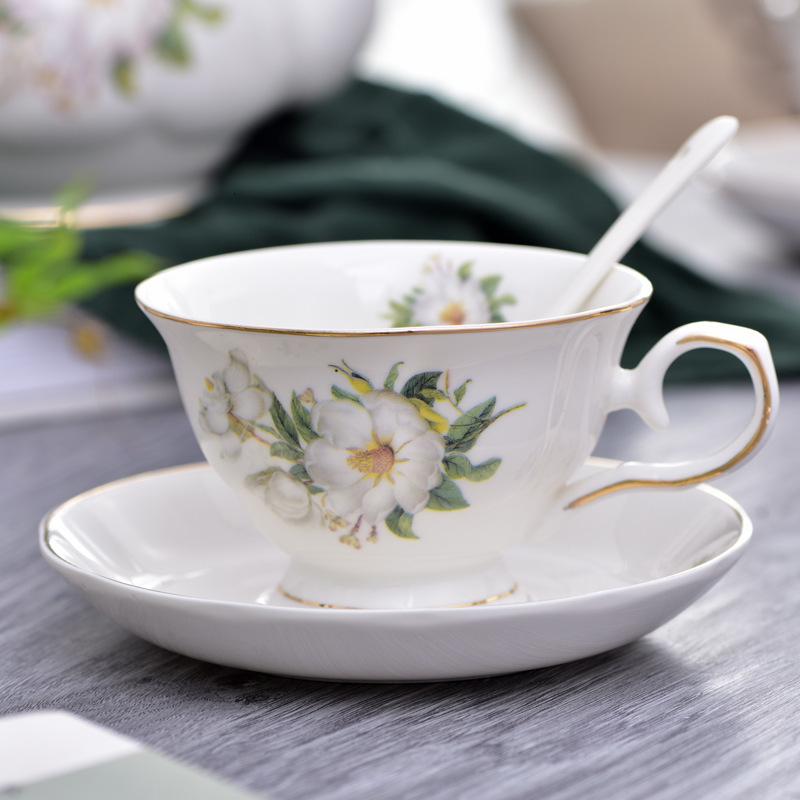European Style Brief Afternoon Tea Coffee <font><b>Cup</b></font> Saucer <font><b>Sets</b></font> Bone China Delicate Black <font><b>Coffe</b></font> Koffie Kopjes Breakfast Teacup Gifts image