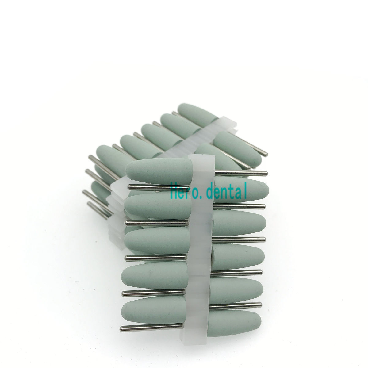 50 Pcs Silicon Rubber Polishers Dental Polishing Burs Resin Base Dental HP Burs 2.35mm Light Green