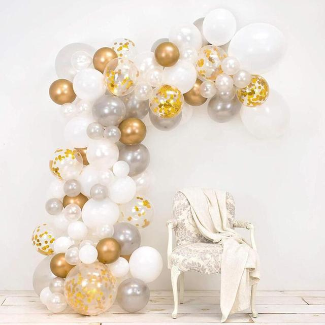 80 Pieces DIY Balloons Garland Kit White Gold Confetti Balloons Colorful Latex Balloons Garland Wedding Party Decoration Supply