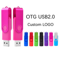 LOGO personalizzato gratuito pendrive ad alta velocità OTG USB 2.0 PC e Smartphone Flash Drive 8GB 16GB 32GB 64GB metallo personalizza LOGO Memory Stick