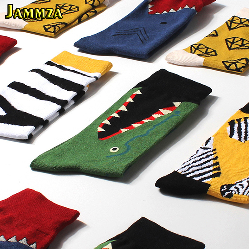 New Fashion Novelty Harajuku Men Cotton Long Socks Funny Beer Animal Musical Note Skull Printed Cartoon Happy Art Socks Vintage