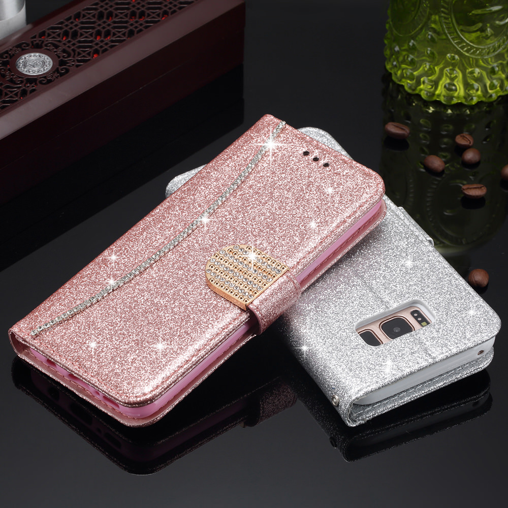 L-FADNUT Bling Glitter Flip Leather Wallet Case For Samsung S20 Ultra S9 Plus S8 A3 2017 A5 A8 2018 S7 edge Magnetic Cover Coque