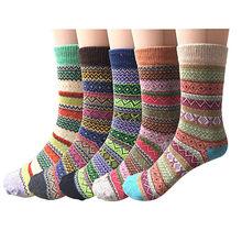 Frete grátis pacote de sagace 5 womens estilo vintage lã grossa quente inverno tripulação meias calcetines deportivos neutros de tubo médio