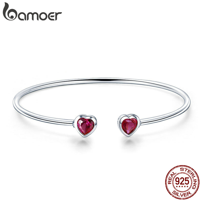BAMOER Genuine 100% 925 Sterling Silver Red CZ Sweet Love Heart Women Cuff Bangles Bracelets Fine Sterling Silver Jewelry SCB091