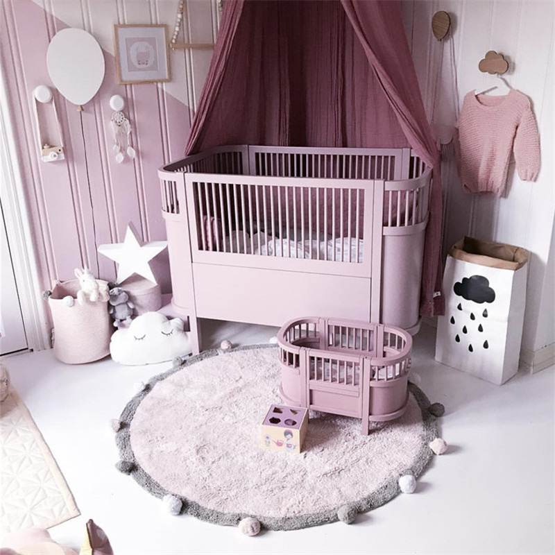 INS Round Ball Cotton Play Mat Carpet 120cm Nordic Decor Baby Rugs For Kids Room Newborn Photography Props Children's Mat Tapete