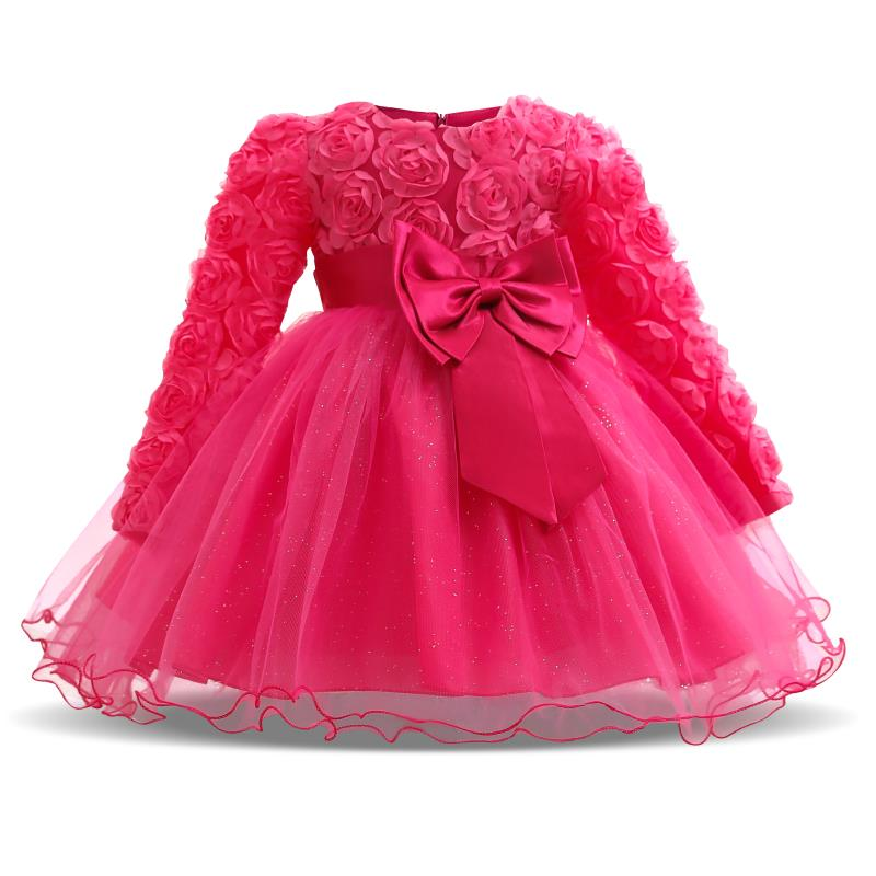 Newborn Baby Kids Girl Long Sleeve Christening Party Wedding Princess Tutu Dress