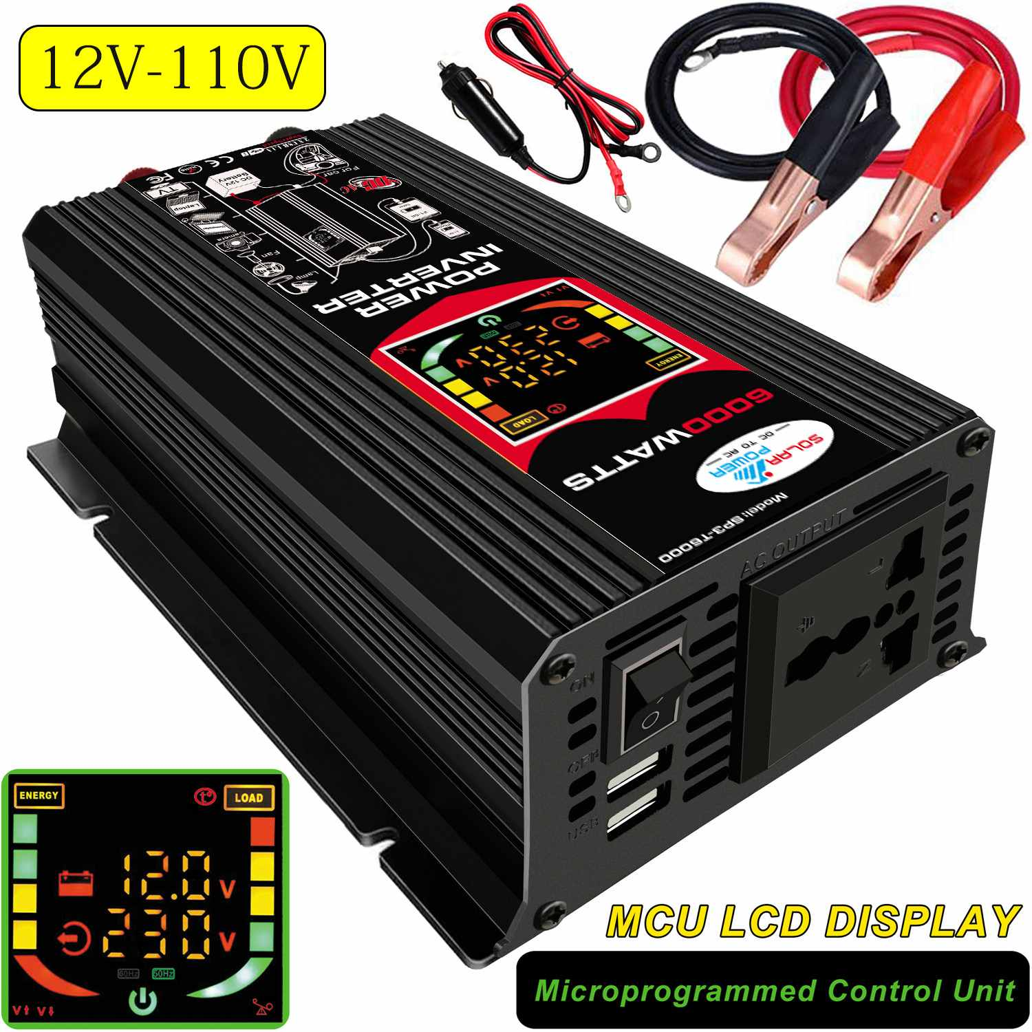 6000W Car Power Inverter Solar Panel Battery Modified Sine Wave Inverter LCD Display Cooling Fan Dual USB Ports 110V/220V image