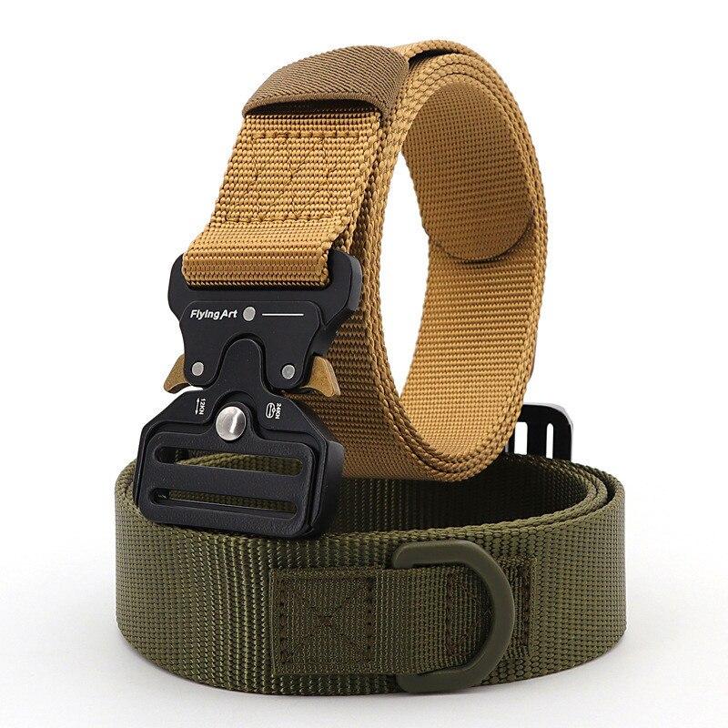Flying Art Official Genuine Tactical Belt Men Nylon Metal Buckle Military SWAT Combat Belts Knock Off Emergency Survival Belt
