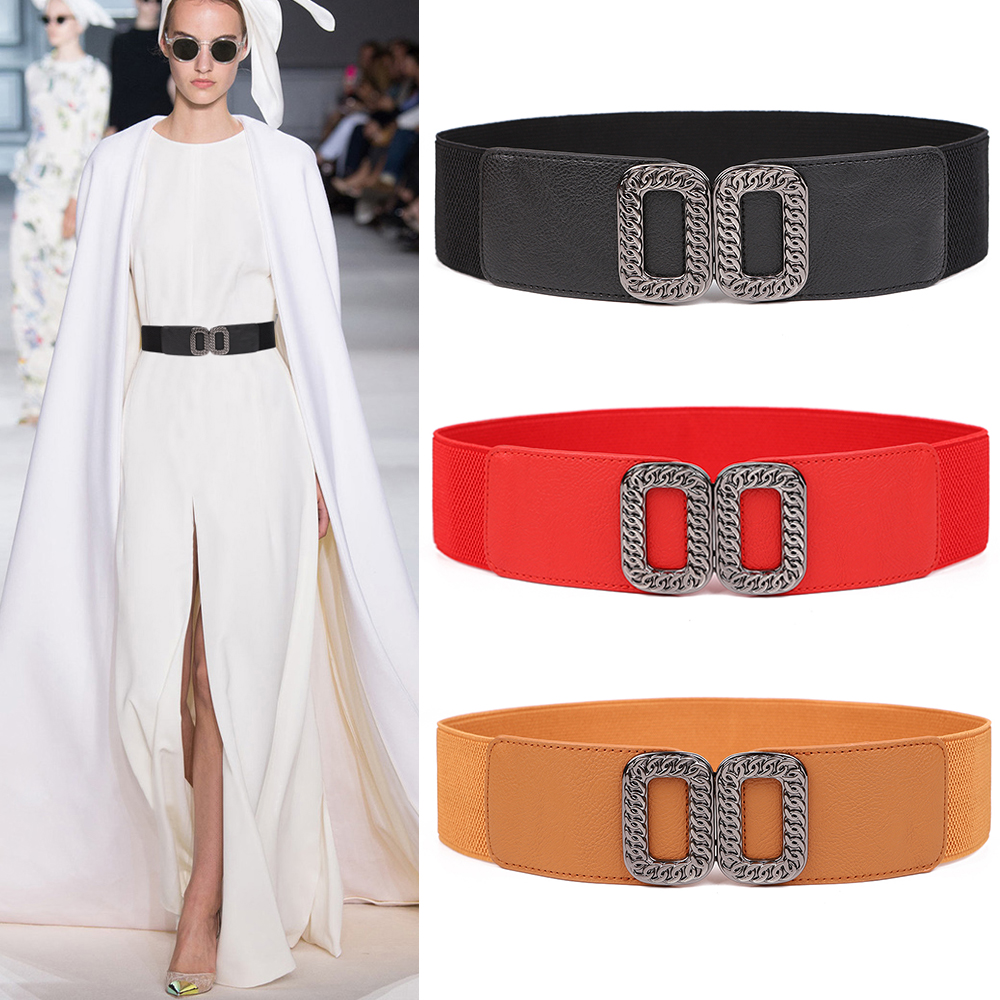 New Soft Waistband Dress Party Accessories Ladies Stretch Solid Elastic Waistbands Fashion Black Chain Alloy Buckle Women Belt