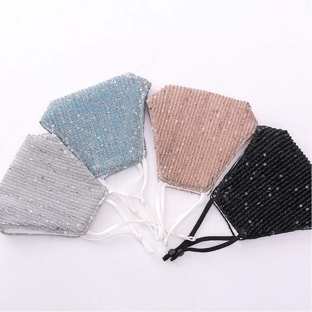 Fashion Bling Bling Sequins Face Mask Party Shinee kpop anti dust face mask Washable Reuse  Elastic Earloop Mouth Mask 2
