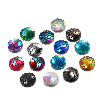 50Pcs/Lot 10mm Resin Cabochons Fish Scale Shape Mix Colors Round Cabochon DIY For Jewelry Making Finding Supplies Craft Pendants