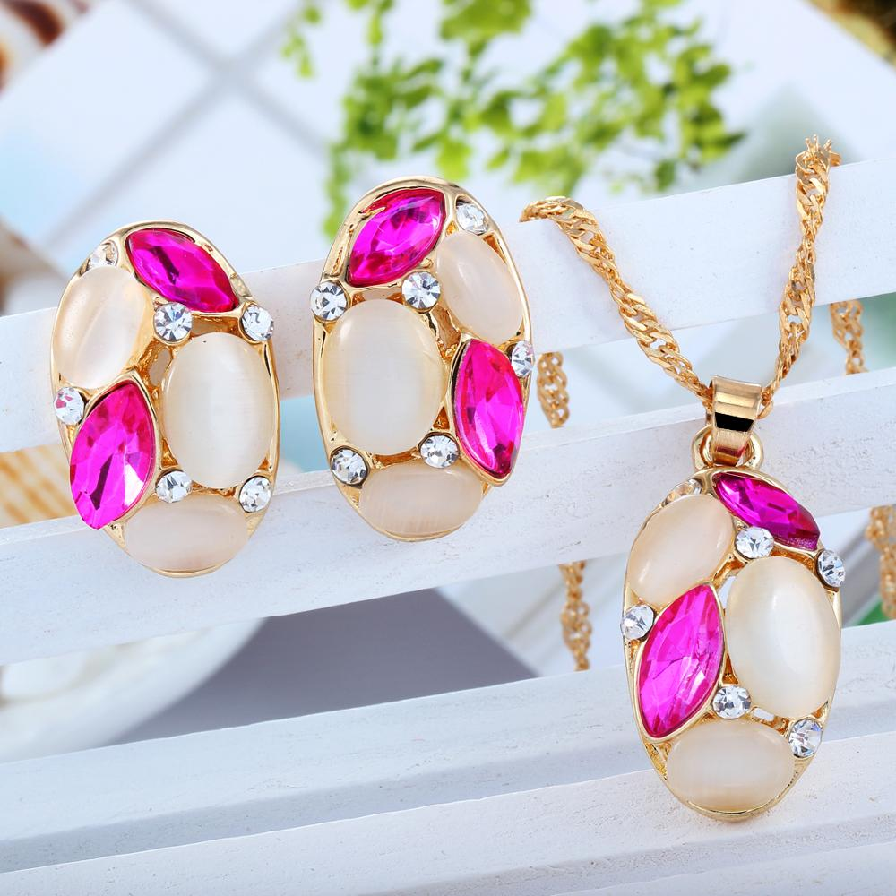 ZOSHI Luxury Austrian Crystal Opal Flower Pendant Jewelry Sets Gold Color African Beads Women Statement Necklace Earrings Set