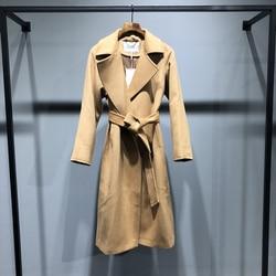 High-end jaqueta feminina clássico ondinha de água cashmere casaco feminino longa seção outono inverno casaco de caxemira moda jaqueta vermelha