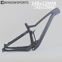 Winowsports UD black matte or glossy full carbon fiber toray t800 29er cross country full suspension mtb frame 142x12mm spacing