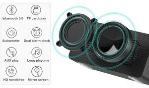 Image 4 - Haut parleur bluetooth sans fil, 5.0 haut parleurs, affichage des basses stéréo, double miroir dhorloge, carte TF, haut avec micro