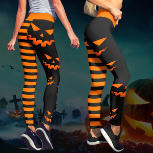 Image 2 - 8 Colors Womens Halloween Leggings Digital Print High Waist Pants Workout Push Up Leggins Mujer Knitted Sexy Christmas leggings