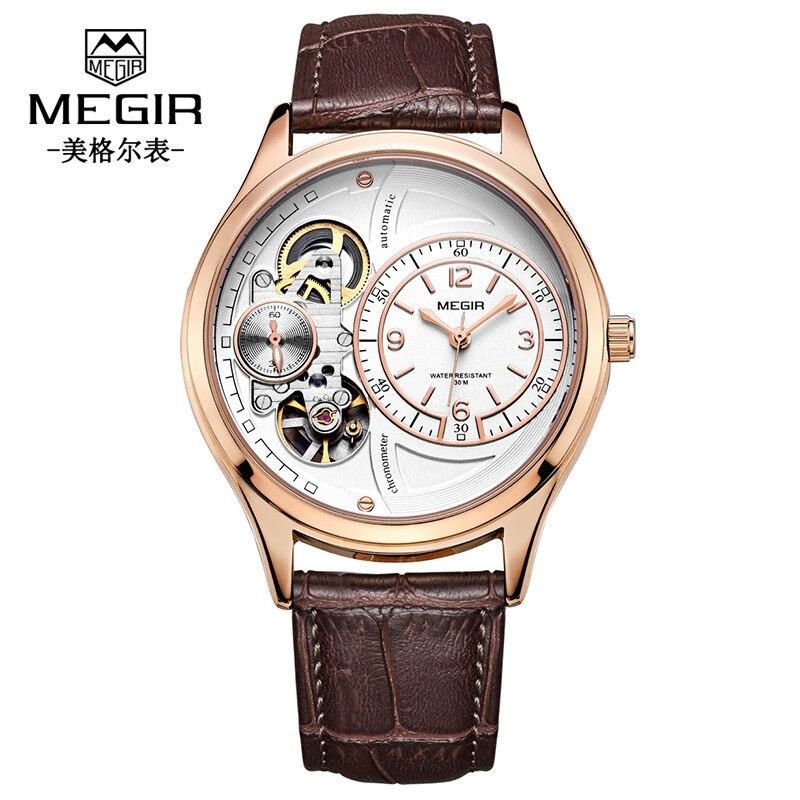Unique marque de créateur hommes montres Quartz mode haute qualité luxe Megir homme montre évider Sport montre livraison directe - 2