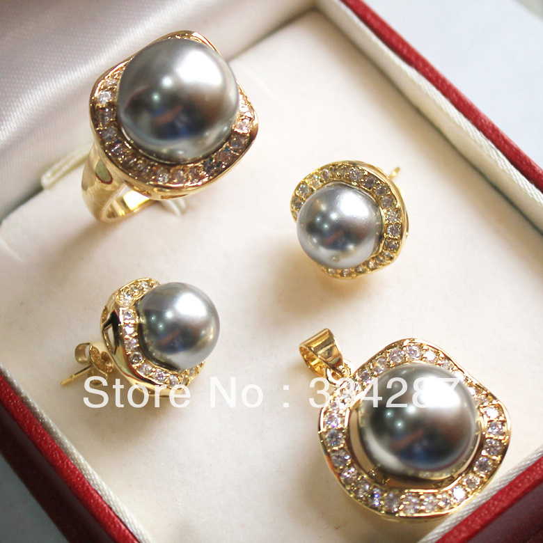 New Listed! Gray  South Sea Shell Pearl Ring Pendant Earring Jewelry Set