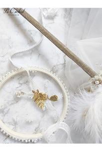 Image 3 - PEORCHID 2020 שרביט כתר יוקרה חתונה זר סיכת תכשיטי זהב עלה נוצת כלה יד מחזיק פרחים מותאם אישית 2020