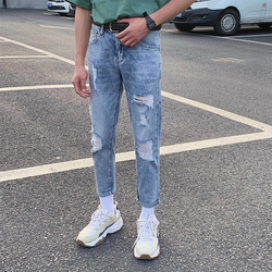 Summer Jeans Mens Slim Fashion Wash Casual Tear Hole Jean Pants Men Streetwear Wild Hip Hop Denim Trousers Male Biker Jeans