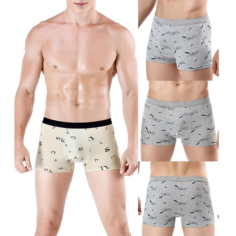 DIHOPE Underwear For Men Breathable Cotton Printed Design Soft Comfy Boxers Men's Printed Four-corner Briefs