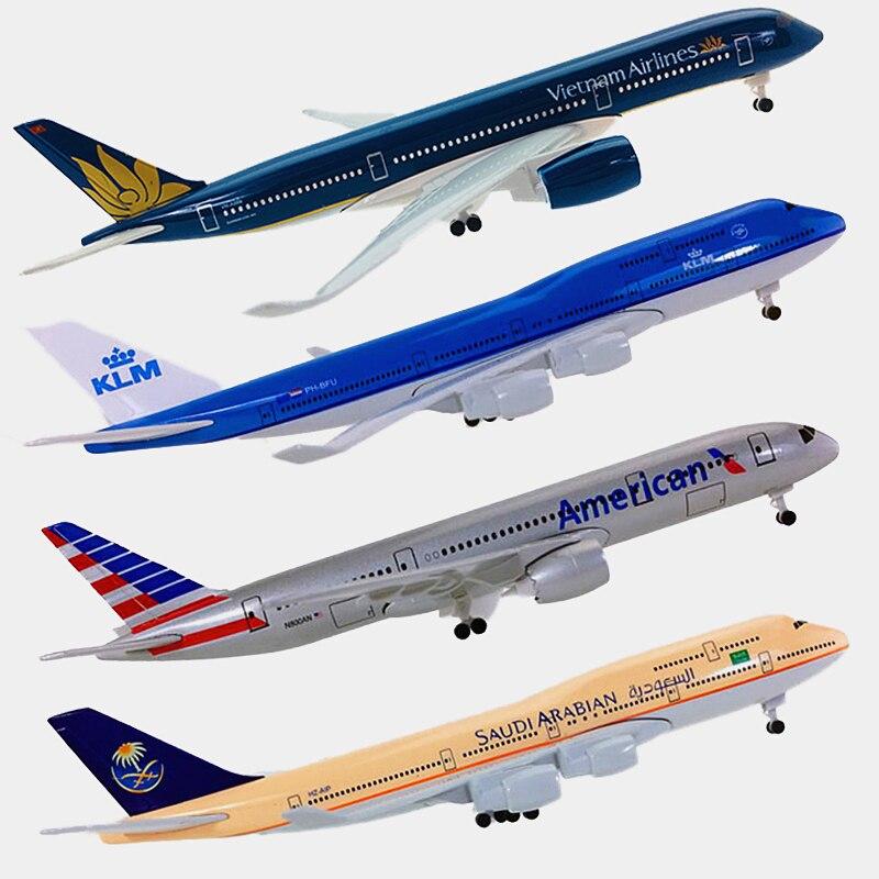 20 cm aviões boeing b747 b787 airbus a350 a320 companhias aéreas avião modelos aeronaves brinquedos com trem de pouso crianças presentes coleção
