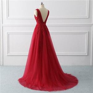 Image 4 - Beauty Emily Long Elegant Evening Dresses Backless A Line Formal Party Dress Lace Up Prom Gown Vestido De Festa Plus Size 2020