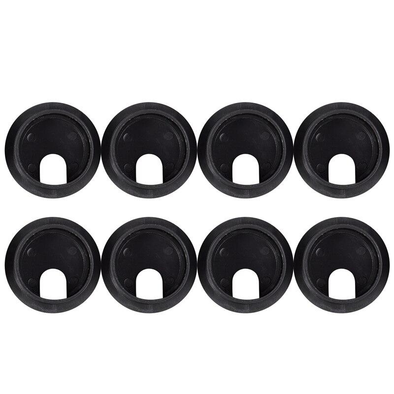 New Black Round Plastic Computer Desk Cable Grommet Hole Cover 35mm 8Pcs