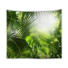 Тропический тропический лес настенный гобелен из ткани Солнечный джунгли Полиэстер Печатный гобелен художественный Декор покрывало для пикника ковер шаль одеяло