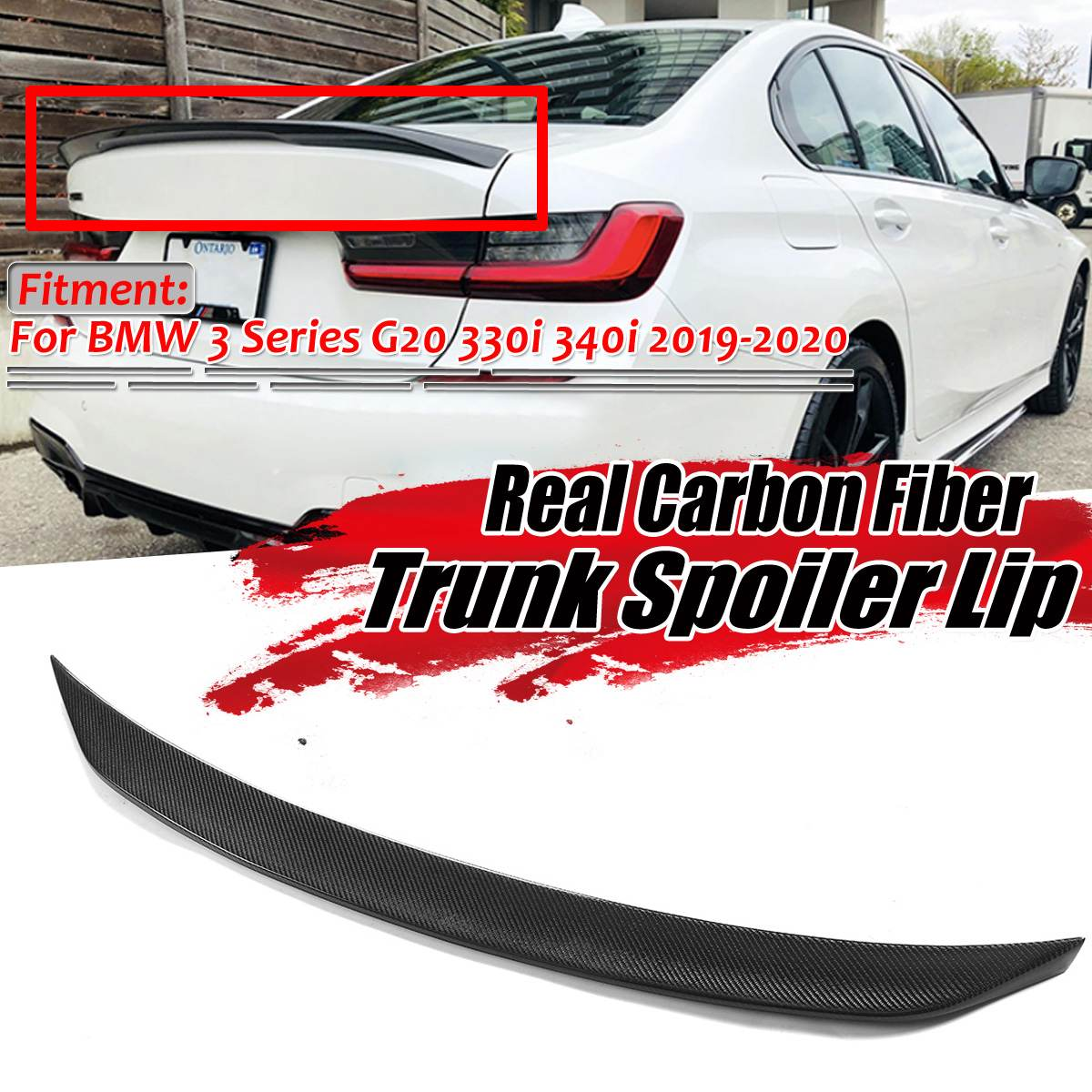 Real Carbon Fiber Car Rear Trunk Boot Lip Spoiler Wing Big Lid For BMW 3 Series G20 320i 330i 335i 340i 2019 2020 Spoiler Wing