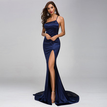 цена на Sexy Navy Blue Evening Dress Cold Shoulder Backless Mermaid Red Prom Party Formal Gown with Split