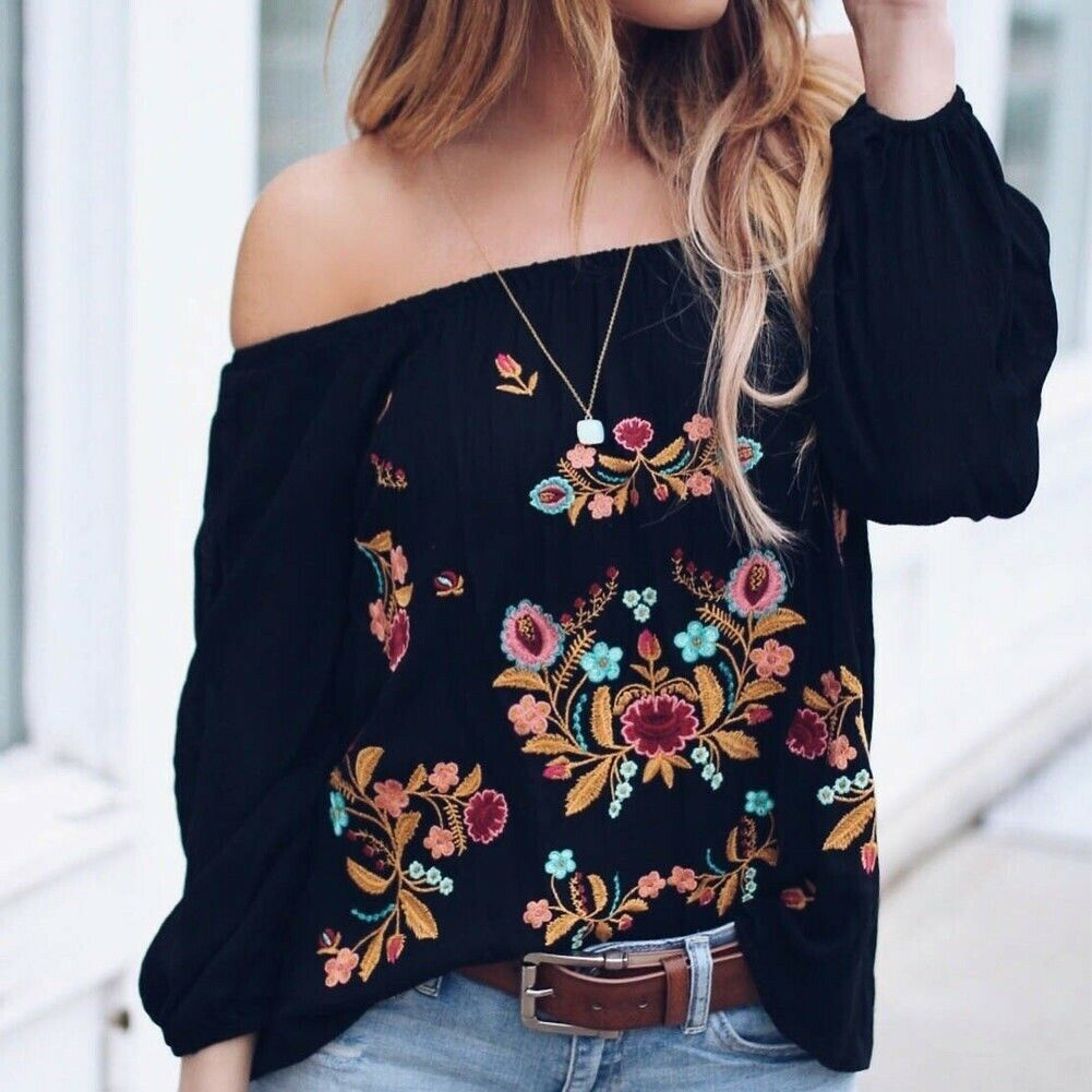 Женская блузка с открытыми плечами, винтажный Свободный Повседневный пуловер с длинными рукавами и цветочной вышивкой на осень