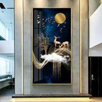 Moderne einfache veranda dekoration malerei vertikale wohnzimmer elch hängen malerei neue Chinesische korridor wandmalereien licht luxus