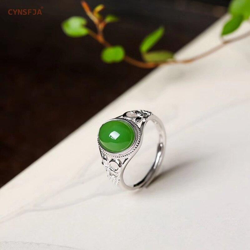 Cynsfja real certificada natural hetian jade jasper 925 prata esterlina jóias finas amuleto verde jade anel de alta qualidade melhor presente