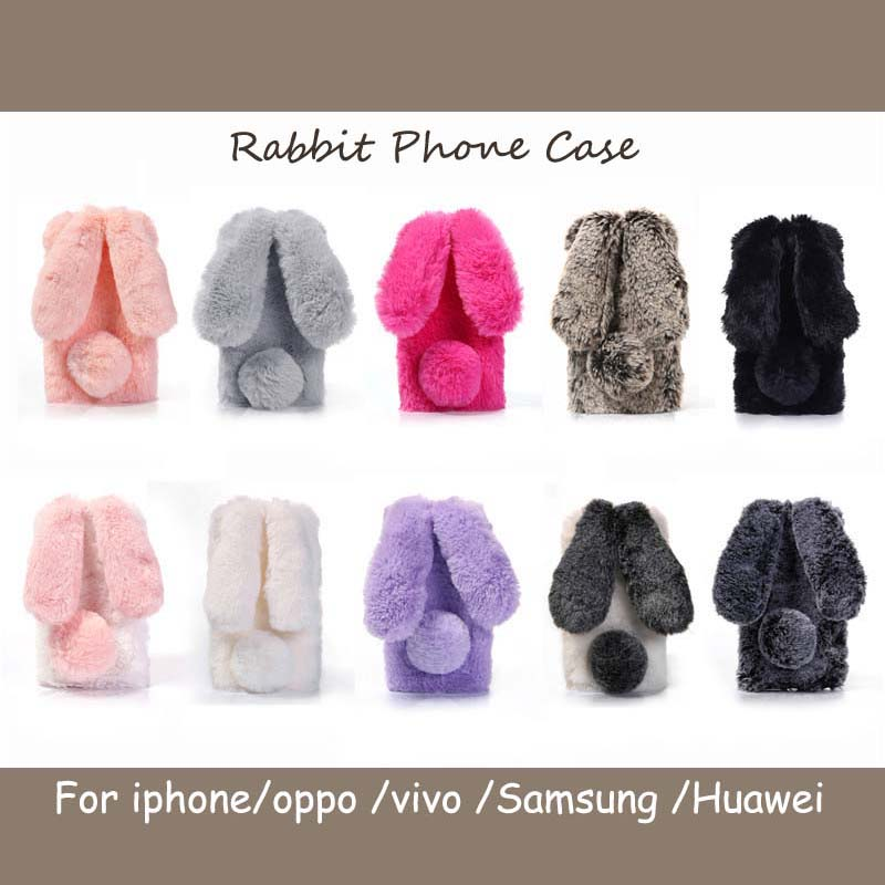 ONEVANLovely Rabbit Ears Fur Plush Phone <font><b>Case</b></font> For <font><b>iPhone</b></font> X XR XS Max 7 8 Plus Winter <font><b>Bunny</b></font> Fluff Cover For OPPO VIVO HUAWEI <font><b>Case</b></font> image