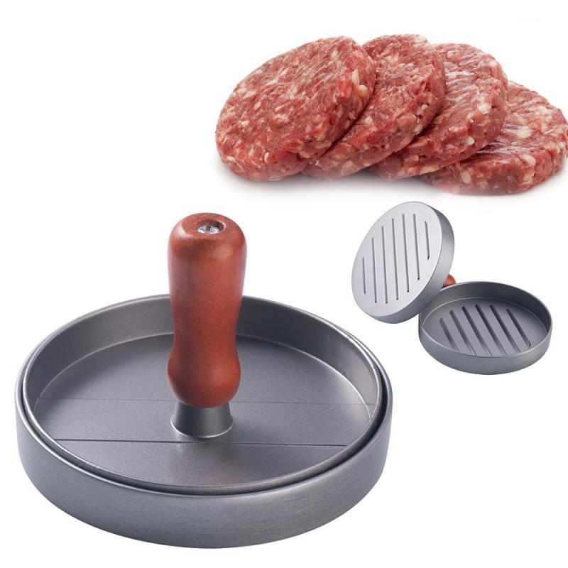 1 Set Round Shape Burger Press Patty Maker Mold Non-Stick Aluminum Heavy Hamburger Press Stuffed Meat Beef Kitchen BBQ Tools