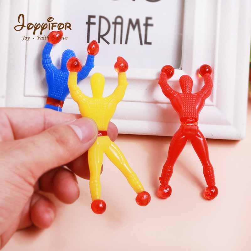 FGHGF 5PCS/lot 8*3cm New Sticky Wall Climbing Climber Man Kids Party Toys Supplies Pinata Fillers Children Gift Random Color