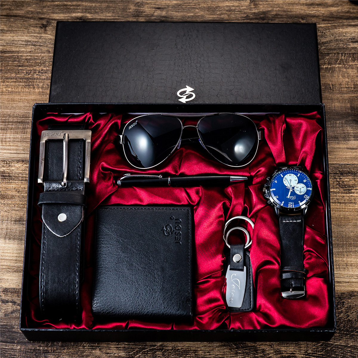 6pes/Set Men's Gift Set Beautifully Packaged Watch + Leather Belt Wallet Creative Minimalist Combination Set-6pes/Set