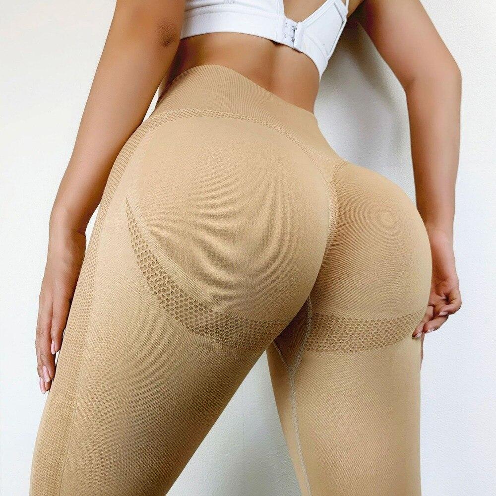 13%Spandex Fitness Leggings High Waist Sexy Pants for Women Bubble Butt Seamless Leggging Push Up  2020 2